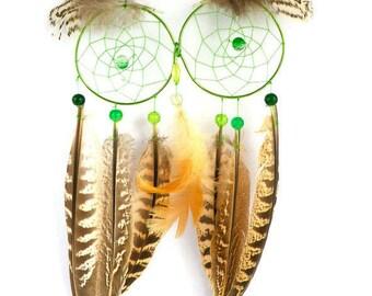 Sale - Green dreamcatcher / Owl Dreamcatchers / owl dream catcher, owl decor, home decor, home decor, nursery decor baby shower gift
