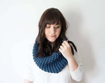 Knit Scarf Chunky Infinity Blue Cowl in *Denim* - The 'Sokoke' Chunky Knitted Cowl
