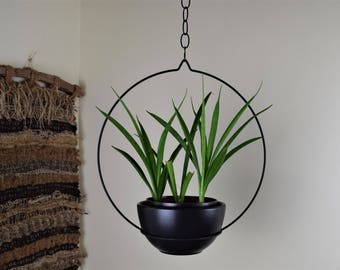 Mid Century Plant Hanger, Planter Hoop, Mid Century Metal Plant Hanger, Hoop Plant Hanger- Black - Medium Base Ring Size