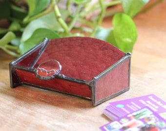 Business Card Holder - Stained Glass Textured Brown & Tigers Eye