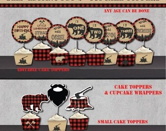 Self-Editing Lumberjack BIRTHDAY Cupcake Topper-Rustic Lumberjack Party Circle-Buffalo Plaid-Bear Party-Forest-First Birthday-Any Age-A145-2
