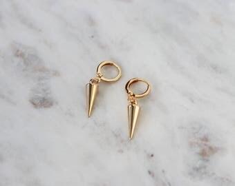 Gold Huggie Earrings - Gold Spike Earrings - Hoop Earrings - Minimalist Jewelry - Dangle Earrings  - Gift for Her - Edgy Earrings