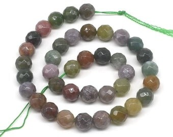 India agate beads, 10mm faceted round gemstone beads, multi color agate stone, natural fancy jasper beads strands, agate beads, AGA1060