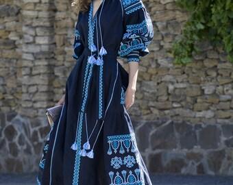Blue linen embroidered dress vyshyvanka. Ukrainian vyshyvanka dress, mexican dress, Kaftan, Abaya, Caftan. Free Shipping Boho style