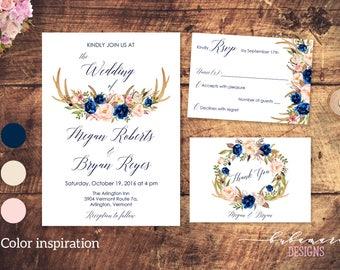 Navy Floral Deer Antlers Wedding Invitation Suite Printable Navy Pink Beige Horns Wedding Invite Set Invitation Floral Spring Invite - WS004