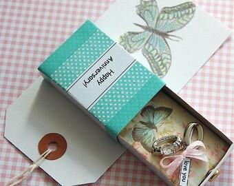 Anniversary Card, PERSONALISE, Silver Anniversary, First Anniversary, Wedding Anniversary, Matchbox Greeting, Diorama, 3D Card,