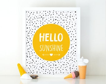 Hello Sunshine, Nursery Wall art, Quote Print, Printable art, Kids print, Nursery print, Motivational Print, nursery decor, kids room print