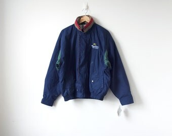 90s Colorblock Windbreaker Jacket - Navy Blue Health Service Vintage Windbreaker 90s - Embroidered Weather Resistant Coat - Men's L
