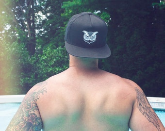 Owl Snapback - Owl Hat - Owl Baseball Cap - Tattoo Snapbacks for Men - Trucker Hat - Bird Snapback Hat for Women - Owl Tattoo - No Sleep Hat