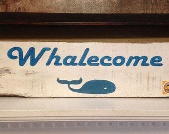 "Beach Decor ""Whalecome"" Sign / Nautical Coastal Sign / Nautical Decor / Coastal Decor / Hand Painted / Distressed / Welcome Rustic Sign"