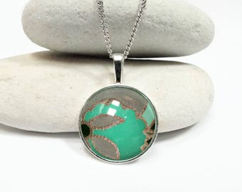 Necklace turquoise cabochon, cabochon necklace