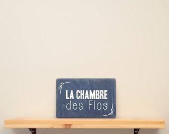 "La chambre des flos - vinyl on varnished wood 8"" x 12""  choose from a range of colours - Home decor - kid's room - kid's playroom - nursery"