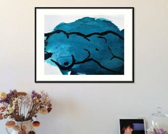 Print - Ribs. High quality print of a sensual painting in gemstone turquoise.