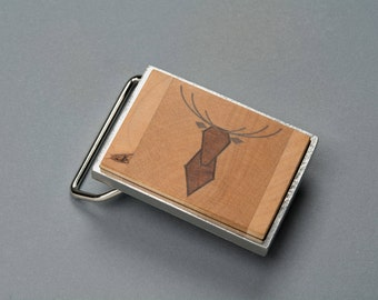 Belt buckle deer in wood (maple, cherry and black walnut) on shiny copper or shiny Nickel finish metal