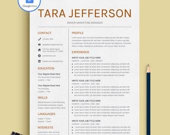 Modern Resume Template | CV Template + Cover Letter | Professional Resume  Template | Google Docs  Resume Template Google Docs