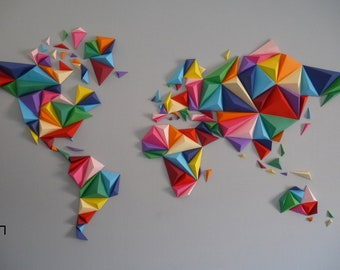 World map 3D multicolor, KIT papercraft, DIY, creating something unique with your hands, wall decoration, travelers