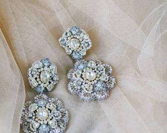 Blue Chandelier Wedding Earrings | Pearl Chandelier Earrings | Statement Bridal Earrings  | Crystal Earrings | Something Blue | Ravenna