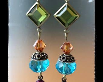 VINTAGE JEWEL EARRINGS multicolor crystal dangle brass lever backs