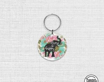 Keychain Be Happy Floral Elephant Keychain - 2 Inch Round Acrylic Key Chain