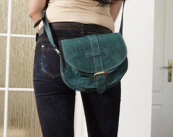Teal Blue Leather Saddle Bag Messenger Cross-body Purse Goldmann Size S