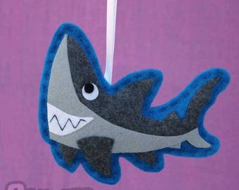 Felt Shark Decor, Christmas Ornament - Derek the Great White Shark