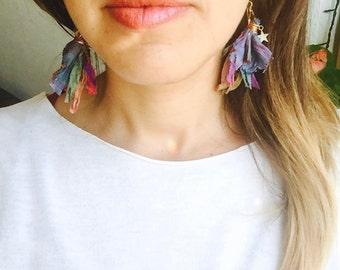 Boho earrings Stars & India Sari Silk earrings, stars earrings, multicolor earrings, boho chic, rainbow earrings, tassel earrings, festival