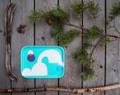 Birch Wood Breakfast Tray in Green