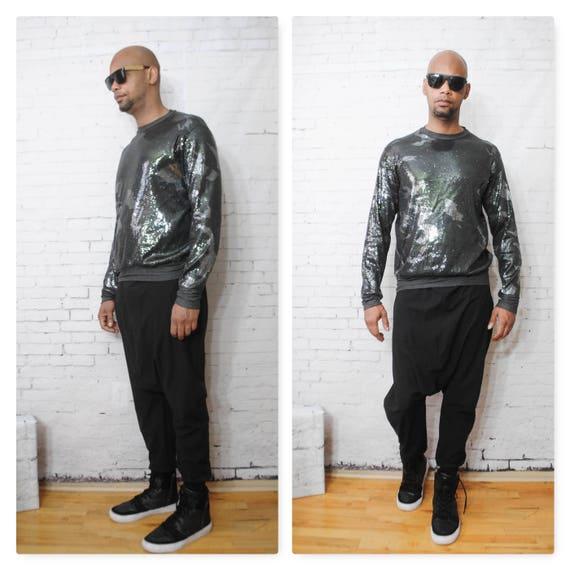 Camouflage Sequin Printed Sweatshirt With Plain Back Grey Balmain Gucci Heather Grey