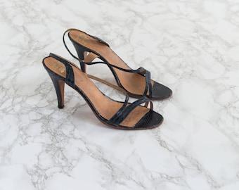 Vintage High Heel Sandals - 1970s Snakeskin Shoes - Viperine Sandals