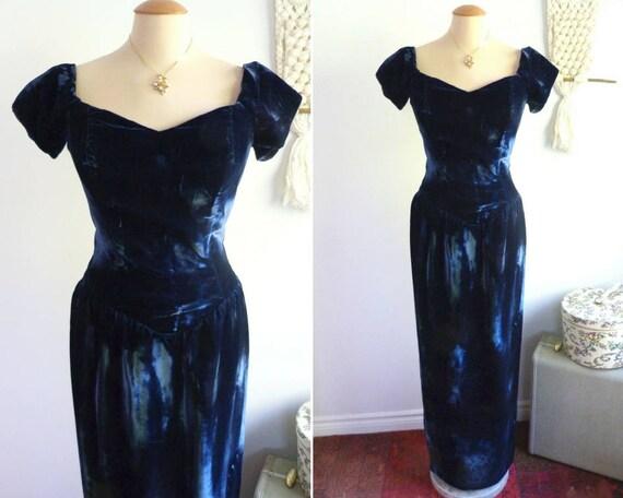 Prussian blue velvet evening dress