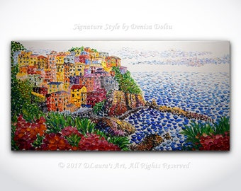 Manarola Italy Landscape Contemporary Art ORIGINAL Abstract Mediterranean Sea Texture Oil Painting Palette Knife Art 40x20 MADE to ORDER