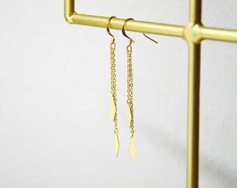 Boucles longues // dorées à l'or fin