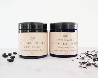 anti cellulite treatment set | chicory coffee body scrub and black tea ginseng caffeinated firming cream | 4 oz each