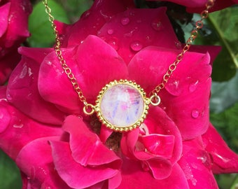 Moonstone Round Beaded Bezel Gold Vermeil Pendant Necklace on a 14K Gold Filled Chain - 18 inches