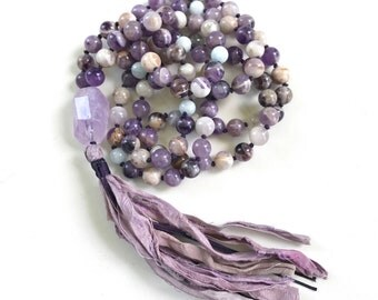 Mala Beads To Calm An Active Mind, Amethyst & Aquamarine Mala Necklace, Yoga Meditation Mala, Mala To Reduce Stress, 108 Bead Mala Necklace