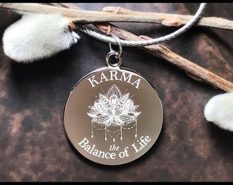 Karma Keychain, Lotus Flower Jewelry, Handbag Charm, Engraved Keychain, Faith, Destiny, Inspirational Gifts for Friends