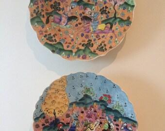 Turkish Hand Painted Ceramic Plates (2)