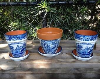 Vintage Spode China Pattern Flower Pot, Blue & White Transferware Design Cache Pot, Farmhouse, Country Cottage Decor, Kitchen Herb Pot