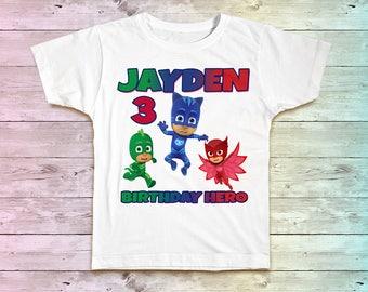 PJ Masks Birthday Shirt, PJ Masks Birthday Tshirt, Hero Shirts, PJ Masks Birthday Party, birthday tee