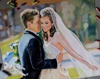 Couple Portrait Art Wedding Portrait Art Pastel Painting from Photo Custom Wedding Gifts Personalized Wedding Painting Custom Portrait