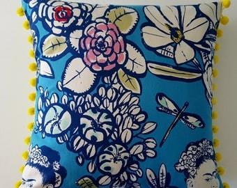 Frida Kahlo in blue pillow cover, pom-pom trim. Mexican artist. Premium quality, Designer fabric. Cushion cover.