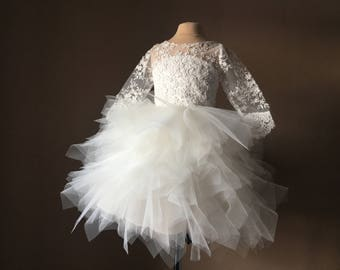 YASMIN Ivory Lace Tulle Flower Girl Dress Vintage Dress Wedding Bridesmaid Dress