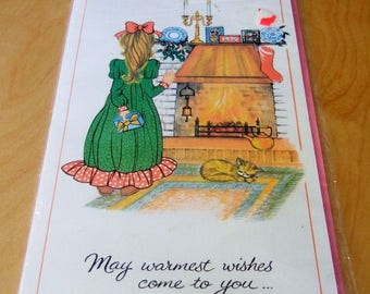 1970s Kitsch Giant Size Christmas Card for Girlfriend - Extra Large Vintage Card with Cute Girl - Unused with Envelope
