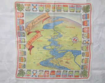 Unique Antique Hanky / Vintage Handkerchief / St Lawrence Seaway Souvenir Hanky / 1940s 1950s Mid Century / UNUSED