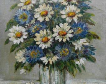 Old vintage artist signed original floral still life oil painting flowers dasies Richard G Welsch