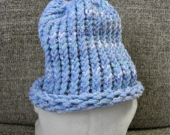 Blues and White Baby's Knit Hat