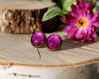 Glitter Stud Earrings | Magenta Sparkling Stud Earrings | Sparkly Glitter Studs | Purple Glitter Stud Earrings | Glitter Jewelry