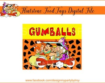 6 CUSTOM FLINTSTONE Digital Tags, Flintstone Digital Tags, Flintstone Candy Tags, Flintstone Party Suppy, Flintstone Party Decoration, Tags.