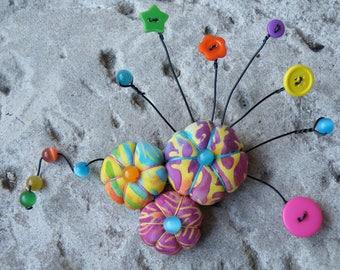 large brooch sakura flowers fabric, batik, buttons