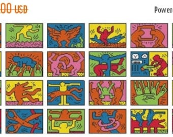 Keith Haring Cross Stitch Pattern Pdf pop art cross stitch Kräiz Stitch korss - 486 x 165 stitches - INSTANT Download - B663